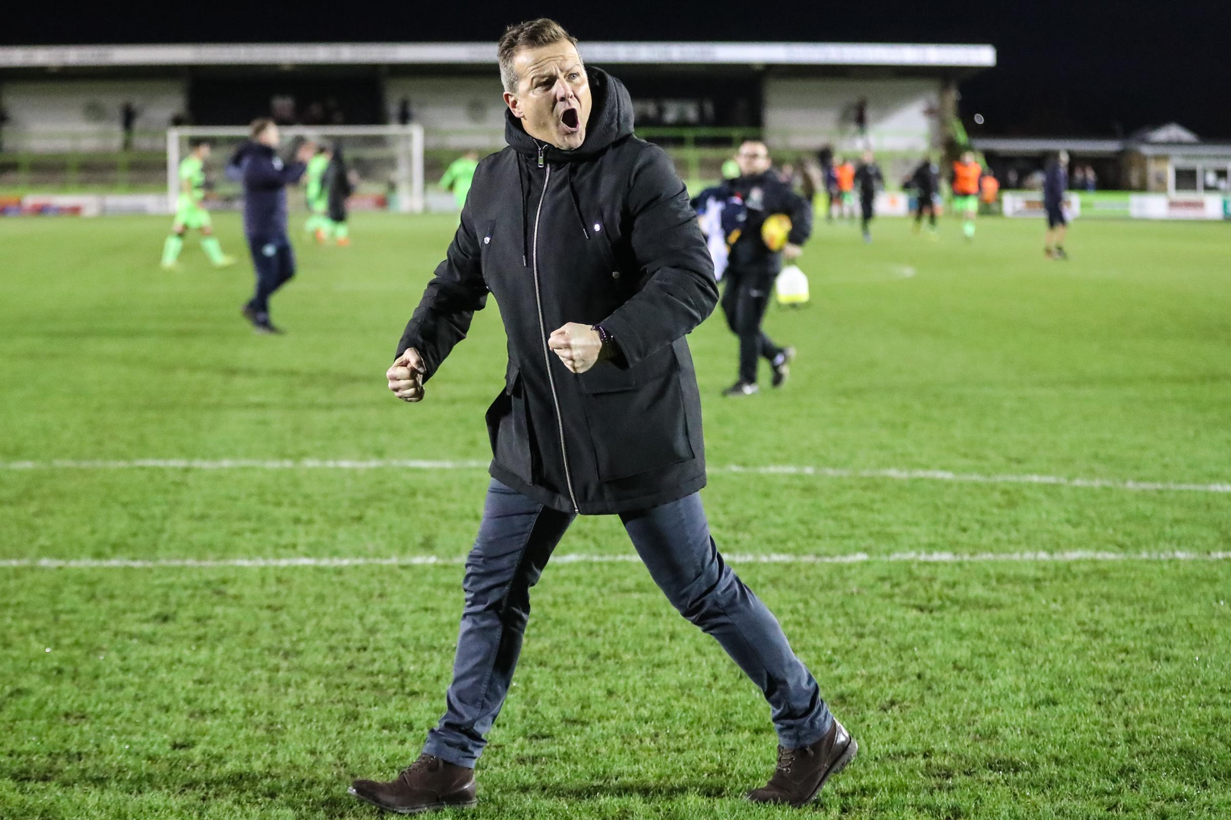 HAPPY: Mark Cooper celebrates with the fans at the final whistle             Pic:  Shane Healey/ Pro Sports Images