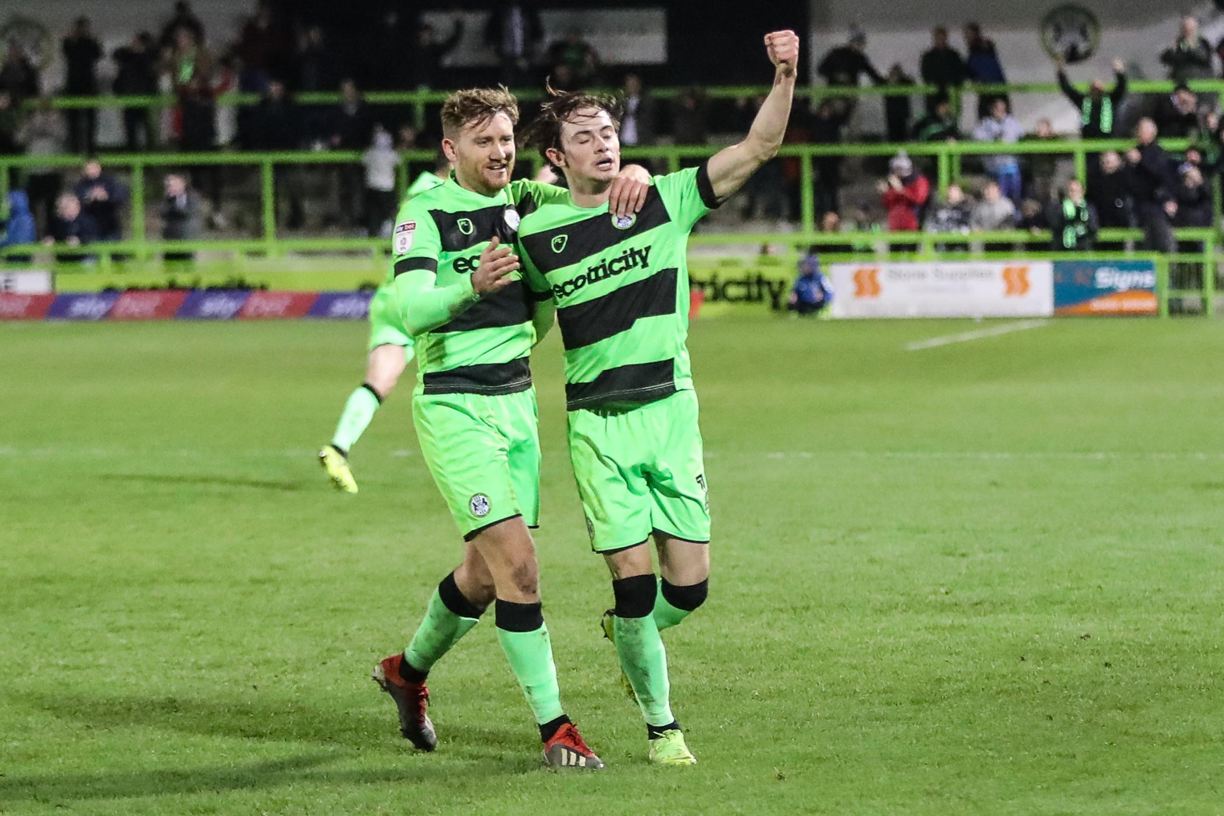 Theo Archibald (right) celebrates his late winner with Dayle Grubb           Pic: Shane Healey/ Pro Sports