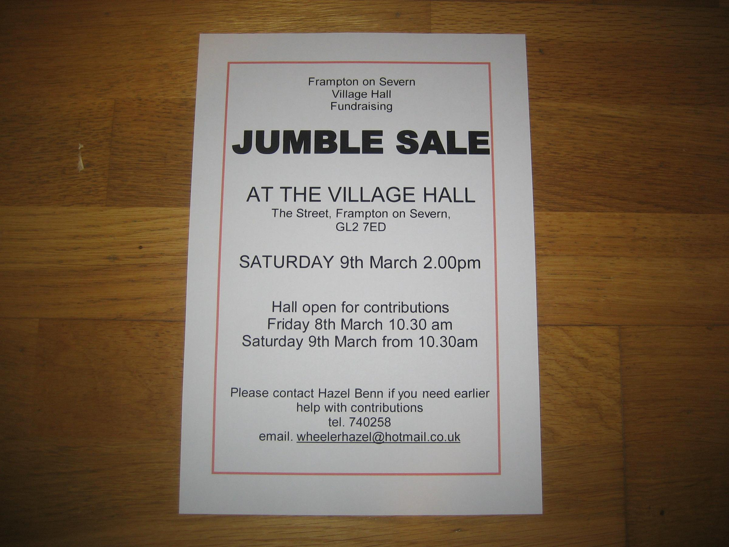 Frampton on Severn jumble sale March 9th 2019