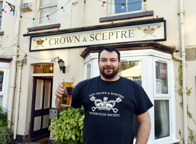 Bar Manager Ruan Castellini outside the Crown and Sceptre, Horns Road, SNJ Pub of the Year 2019