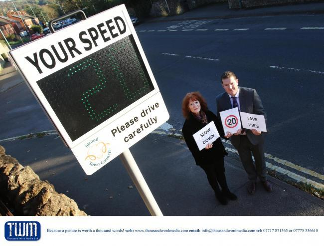 Stroud Town Council Speed Awareness Sign - County councillor for Syroud Eva Ward and Deputy PCC Chris Brierley launch the new speed sign. Picture by Antony Thompson - Thousand Word Media,