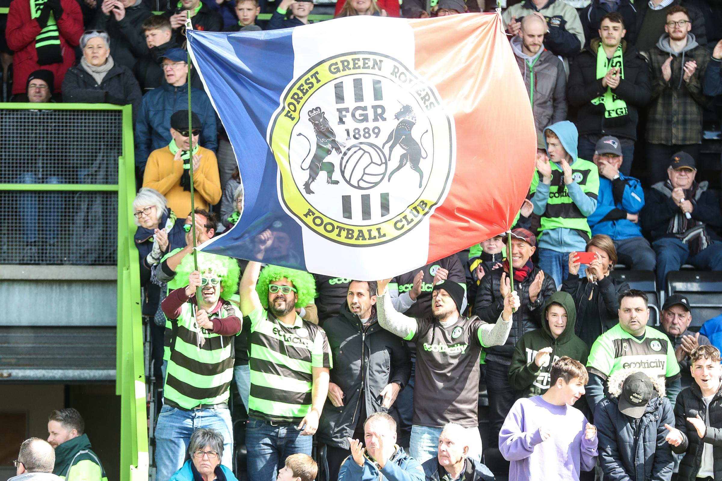 FGR fans during the EFL Sky Bet League 2 match between Forest Green Rovers and Exeter City at the New Lawn, Forest Green, United Kingdom on 4 May 2019.