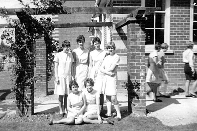 The girls in the photograph - back row - Lee Thomas, Jackie Last, Celia Hillier, Gill Critchley front row - Jane ? and Lorraine Baxter
