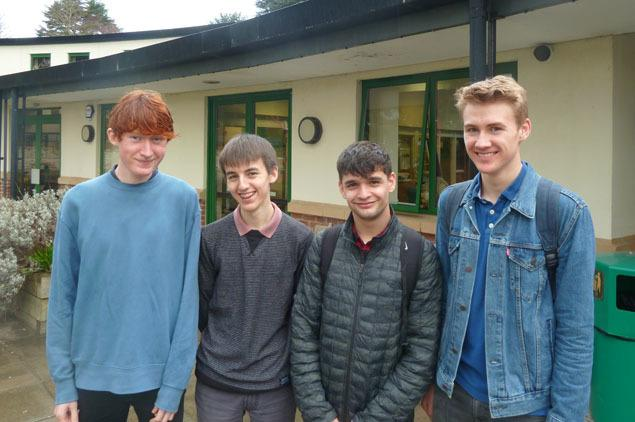 Ben Robinson (far right) with three other Marling School students who competed in the British Biology Olympiad. Ben is one of just four UK students selected to represent the UK at the International Biology Olympiad 2019 in Szeged, Hungary in July