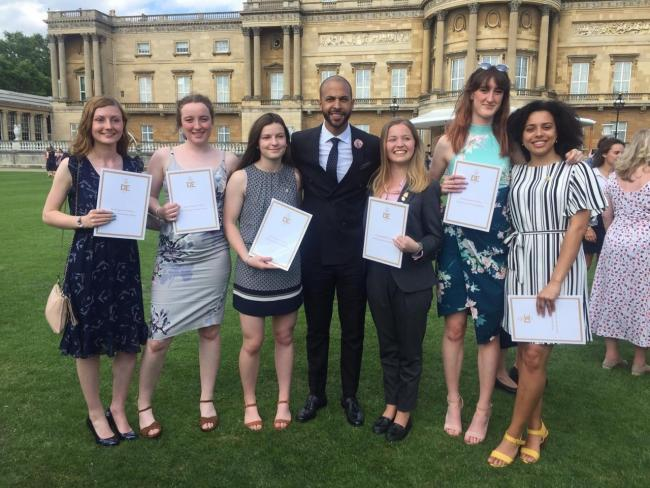 The Wycliffe DofE Gold award winners at Buckingham Palace with Marvin Humes from JLS